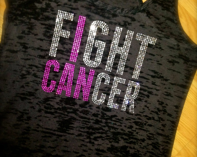 Fight Cancer Tank Top. Breast Cancer Awareness shirt. Ladies Breast Cancer Awareness pink shirt. Burnout tank top. Medium, Large , XL , XXL