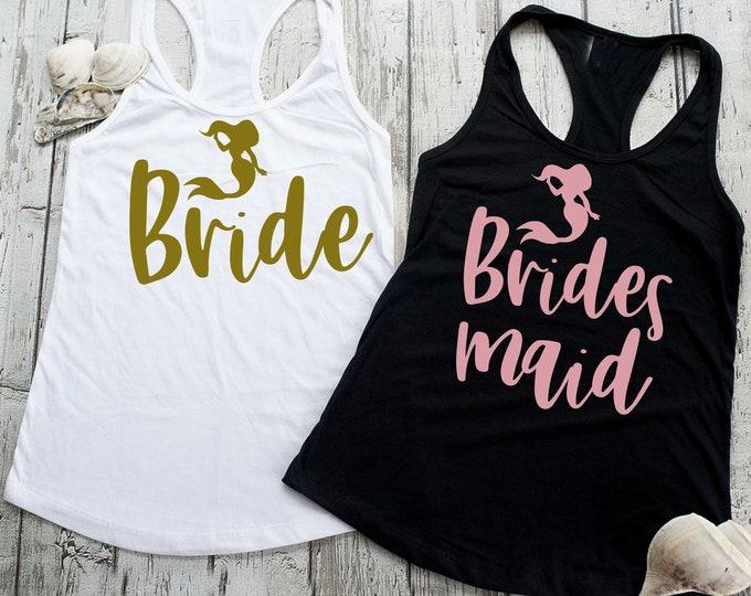 Bachelorette party beach shirts , bridesmaid tanks , mermaid bridesmaid tank tops, rose gold bridesmaid shirt, cute bridesmaid tank top