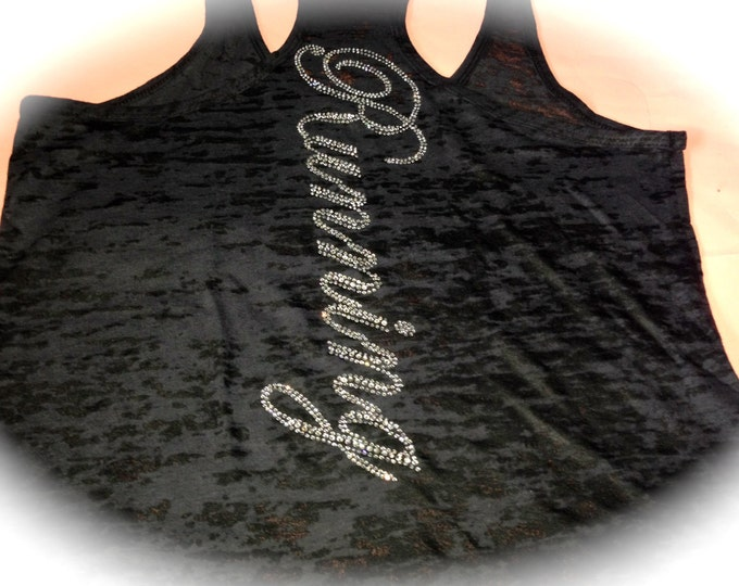 Running Rhinestone Workout Tank Top. Ladies Rhinestone Fitness Shirt. Workout burnout Tank Top.