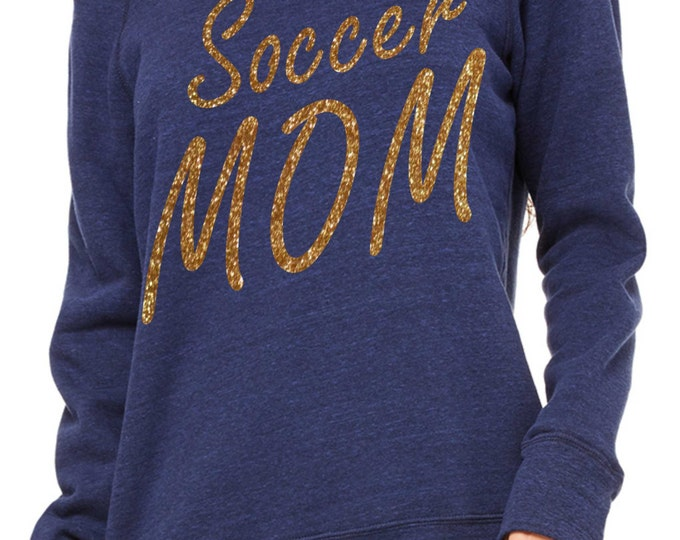 Soccer Mom Sweatshirt. Personalized Soccer Mom shirt- Sports mom Shirt- Comfy slouchy Oversized pullover, off the shoulder, slouchy Shirts.