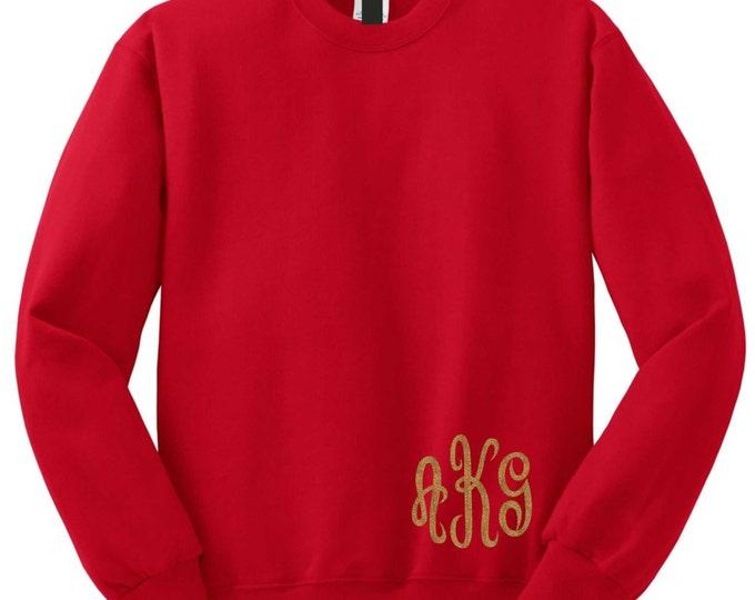 Custom Christmas sweatshirt . Monogrammed sweatshirt . crewneck pullover monogram shirt. Monogram sweatshirt with monogrammed in corner .