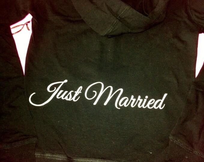 Just Married Hoodie. Closeout Sale Bride hoodie. Bride zip up Sweatshirt. Size Small Bride Hoodie. Honeymoon Zip Up Hoodie. Medium hoodie.