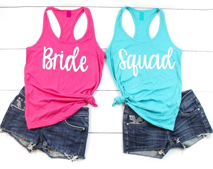 Bride Tank Top Squad shirt / Bride t-shirt / Bridesmaid shirts / Bachelorette party tee shirt / Bridesmaid proposal / Bridesmaid t-shirts