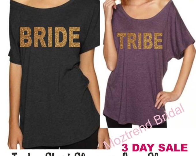 Set of 7 Gold Glitter Bachelorette Party Shirts. Tribe Shirts. Ladies Oversized t-shirts. Drinking shirts. Long Sleeve Bridesmaid Shirts.
