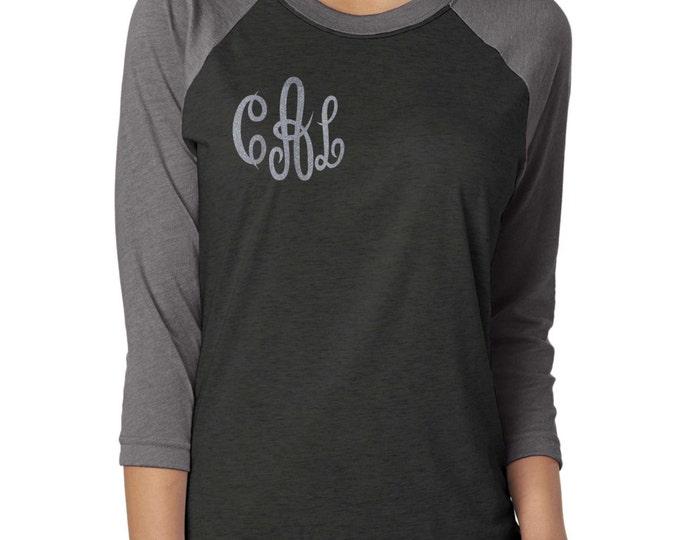 Christmas tshirt personalized for mom , best friend, sister. Monogram baseball shirt . Monogram glitter shirt . Monogram Raglan .