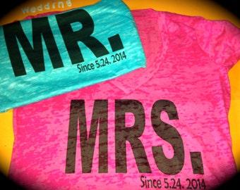 Pink and Aqua Blue Weddings. Mr and Mrs shirt. Custom honeymoon shirts.  Bride and Groom T-shirts. Bride and Groom Personalized Shirts.