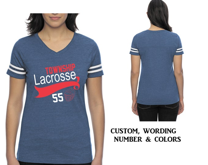 Custom lacrosse shirts, mom lacrosse tshirt, jersey number and name - Fitted v neck ladies lacrosse tshirt, womens shirts, sports mom shirt