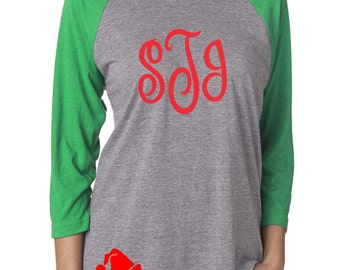 Christmas shirt for women . Christmas monogram tee shirt . Raglan monogram tee. 3/4 sleeve red and green personalized monogram raglan shirt
