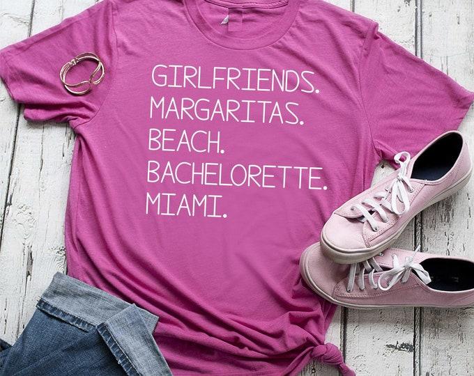 Margaritas Beach Bachelorette shirt , Cute bachelorette t-shirts for women , custom bridesmaid tees , personalized bridal party tops
