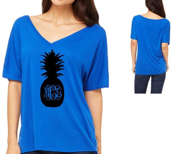 Monogrammed Pineapple shirt - Deep V Neck bridesmaid t-shirt - Women's Bridesmaid shirts - Monogram gifts - cute gifts for bridesmaids