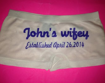 Personalized Wifey hot pants. Personalized Bride to Be Underwear. Custom White Bride Panties. Wedding Shower Gift. Small, Medium, Large.