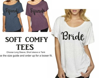Squad Bride Shirts / Bachelorette party shirts /Sexy bachelorette T-shirts / Off The Shoulder Bachelorette Tee / Bachelorette Shirts womens