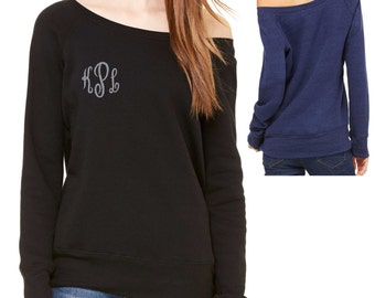 silver glitter and black monogram off shoulder sweatshirt .  monogram shirts for women . letter sweatshirts . initial sweatshirts - XL, XXL
