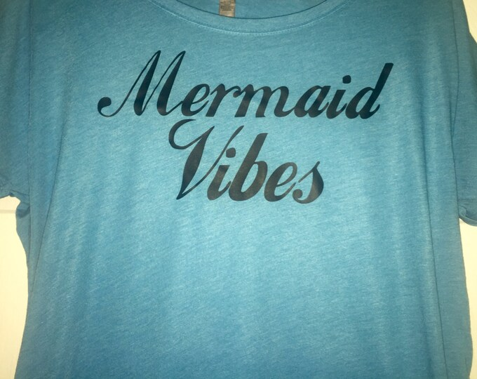 Mermaid vibes slouchy off shoulder t-shirt. Mermaid tee or tank top. Vintage mermaid shirt. Small, medium, large, Xl, Xxl, Xxxl, beach