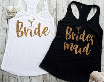 Bridesmaid Martini Tank tops , Bride and Bridesmaid shirts, bachelorette party tanks , Bridesmaid tank tops, bridesmaid proposal gift ideas
