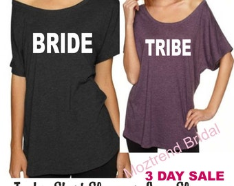1 Bride Shirt- Bachelorette Party Shirts. Bride to Be Short sleeves. Flowy off the shoulder tee. Drinking shirts. Purple, black,hot pink