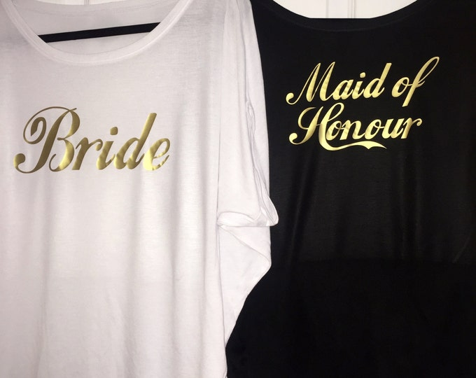 2 flowy off the shoulder bridesmaid shirts. Bride, Maid of honor package . Bridesmaid gold writing shirts . Bridal party oversized tops.