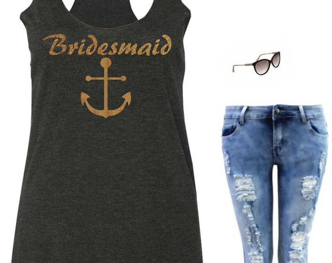 Nautical Wedding Shirts , Bridesmaid Tanks , Glitter , Flowy Anchor Tank,  Wedding Party Tank Tops , Nautical Bridal Shirts , Bridesmaid tee