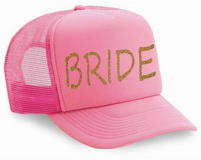 pink and gold glitter Bride Hat - bachelorette hats - bachelorette party favors- Bridesmaid trucker hats - bachelorette party hats -