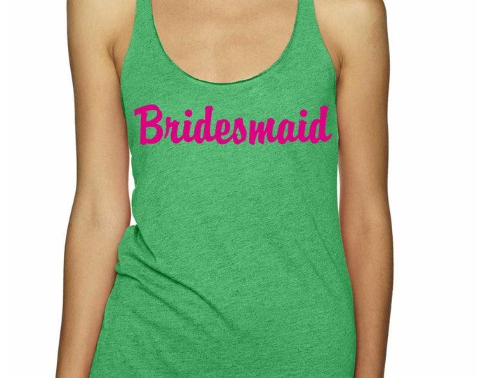 Hot pink Bridesmaid Tank Tops . Flowy Bachelorette Shirts . Bachelorette Tank Tops - lime, navy, green, pink weddings - flamingo