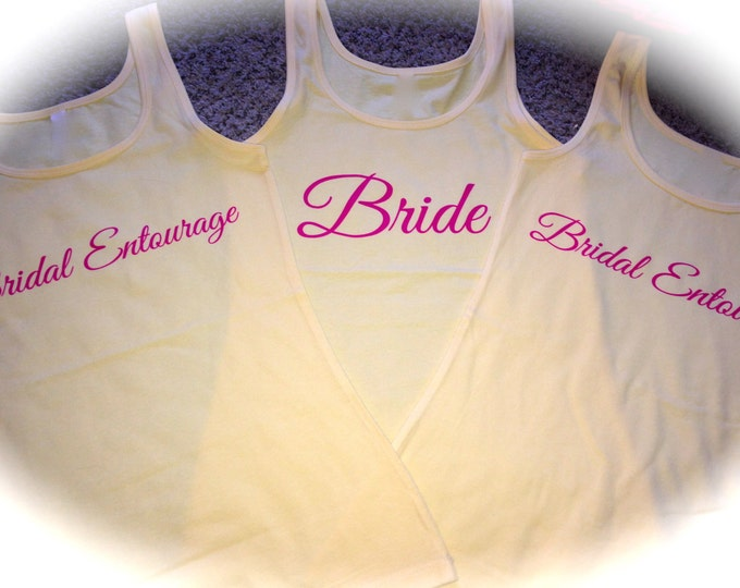 Set of 4 , 5, 6, 7, 8 Bridesmaid Tank tops . Womens Bridesmaid Shirts . Getting Ready shirts . Bridesmaid Tanks , Bridal Party Tank Tops.
