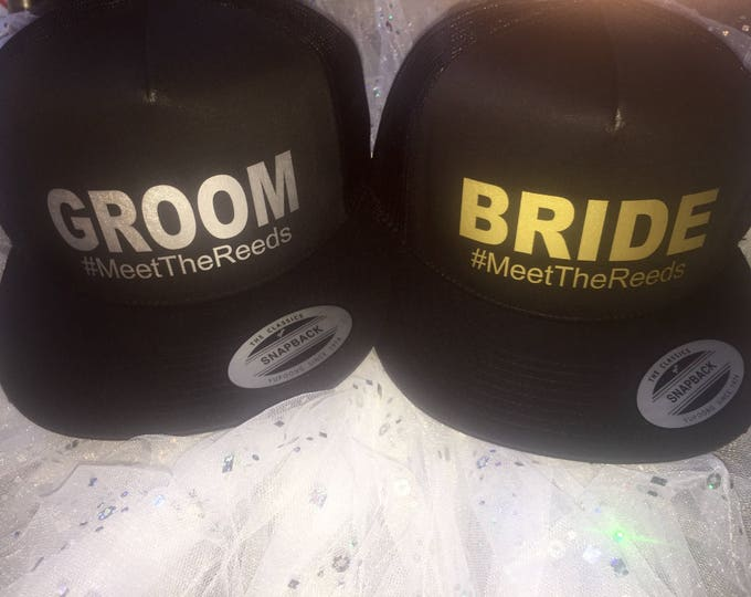 Bride and Groom Custom Baseball caps. Bride trucker hat . His and Hers wedding gifts . Honeymoon Gift . Bachelorette Gift ideas .
