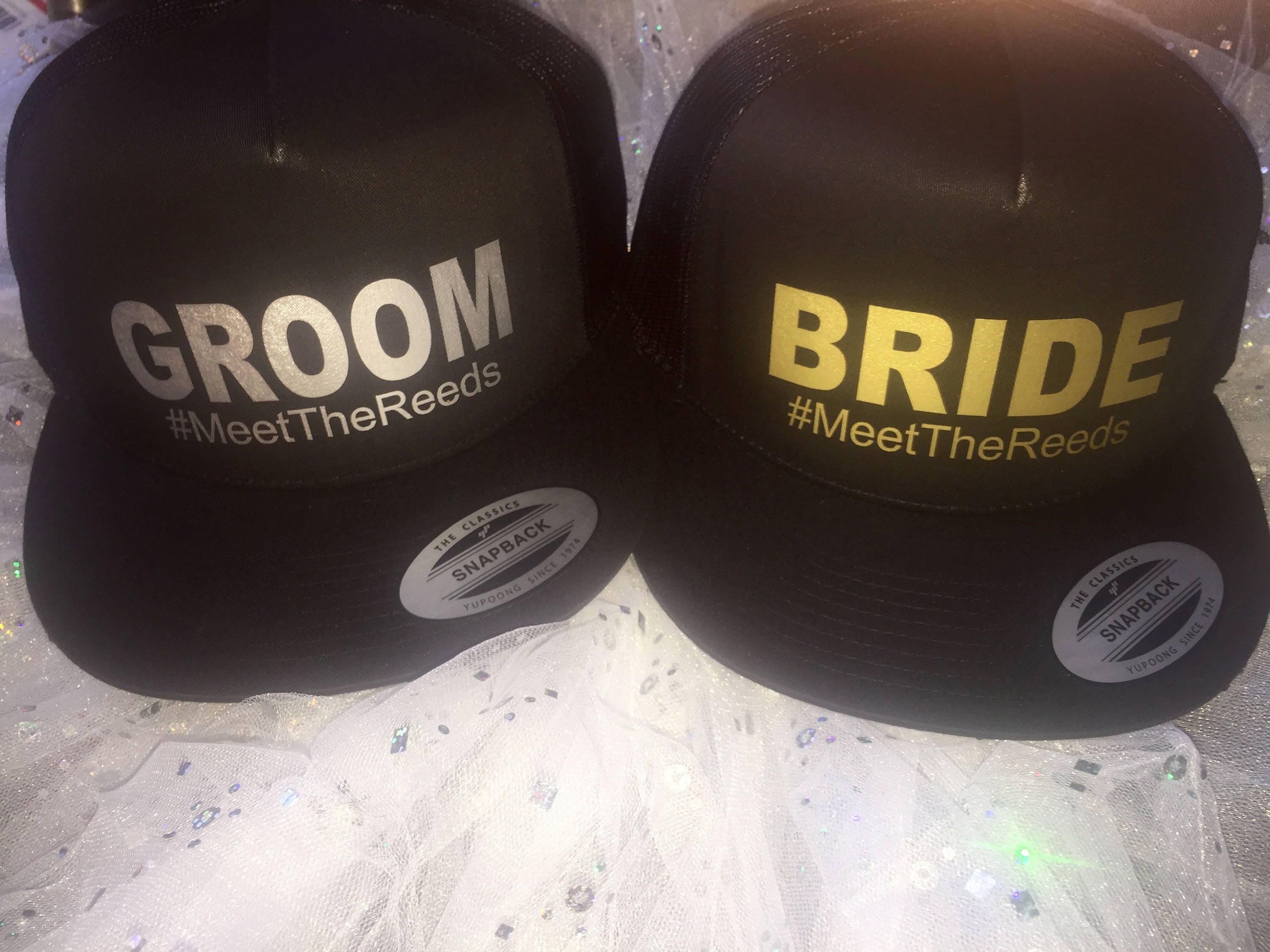 Bride and Groom Custom Baseball caps. Bride trucker hat . His and Hers wedding  gifts . Honeymoon Gift . Bachelorette Gift ideas . 1 233699c5ba85
