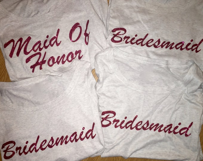 Bridesmaid Shirts set of 4 . Wedding tops . Off the shoulder slouchy oversized bridesmaid t-shirts . purple, white, black, red, royal blue