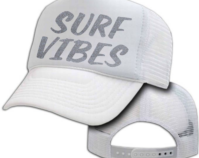 Beach baseball hat. SURF VIBES baseball cap. Trendy sparkle Beach summer hats. Glitter baseball caps. baseball & trucker caps . Beach Hat