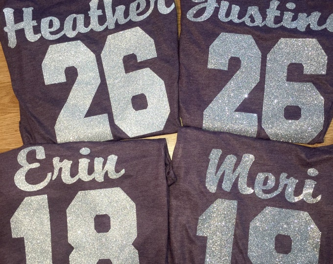 Bridesmaid Jersey - 4 Bridesmaid Glitter Tank Tops - Personalized and Name Number - Bachelorette Party Shirts - Sports Style Shirts