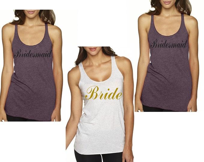 Fancy Script Bridesmaid Tanks . Bridal Party Shirts . Wedding Shirts . Gold Vinyl Bridesmaid Tees .  Set of 3, 4, 5, 6, 7, 8, 9 Tank Tops .