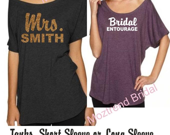 Lot of 6 bridesmaid shirts. Personalized Bridesmaid flowy triblend shirts. Comfy wide neck bridal party Shirts. Loose Bridesmaid Shirt