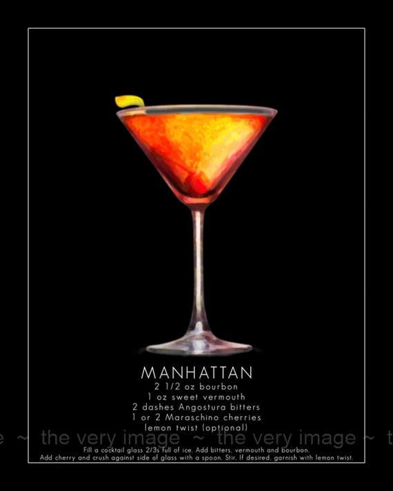 Manhattan Cocktail Boisson Vierge Carte de vœux avec Enveloppe