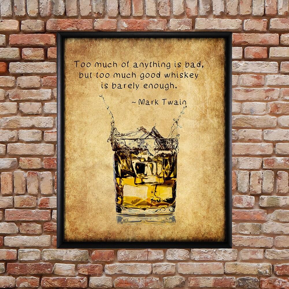 Whiskey Poster Bar Art Whiskey Print Mark Twain Quote | Etsy