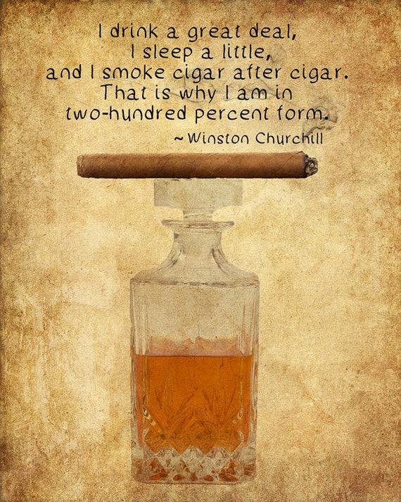 Cigar Art Cigar Poster Whiskey Print Winston Churchill