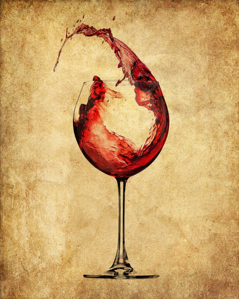 Red Wine Dictionary Art Print, Glass Pour Drink Alcohol