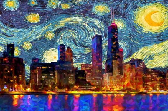 Van Gogh Suncatcher Chicago Starry Night Chicago Skyline
