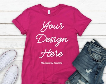 fb1121e047523 Berry Bella Canvas Shirt Mockup Pink Bella Canvas 3001 Outfit Scene ...