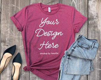 Download Free Heather Raspberry Shirt Mockup Flat Lay Bella Canvas 3001 Wood Background Flatlay TShirt Product Photography Shirt Designs PSD Template