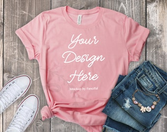 a122c6fac62f6 Flat Lay Styled Pink Shirt Mockup Bella Canvas 3001 Outfit Scene ...