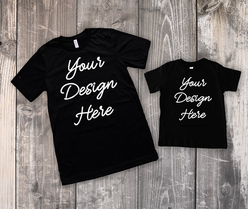 d8b0285e87484 Dad Black Shirt Mockup Father Son Flat Lay Shirt Adult and Child Kids Shirt  Bella Canvas 3001 TShirt Product Photography Shirt Designs