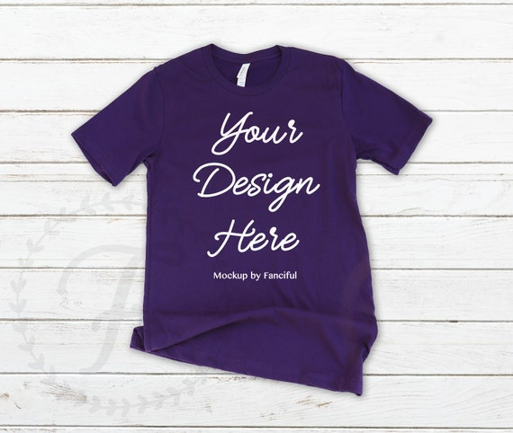 377900f318f3a Purple Shirt Mockup Flat Lay Bella Canvas 3001 Outfit Scene Wood Background  Flatlay TShirt Product Photography Shirt Designs Gray
