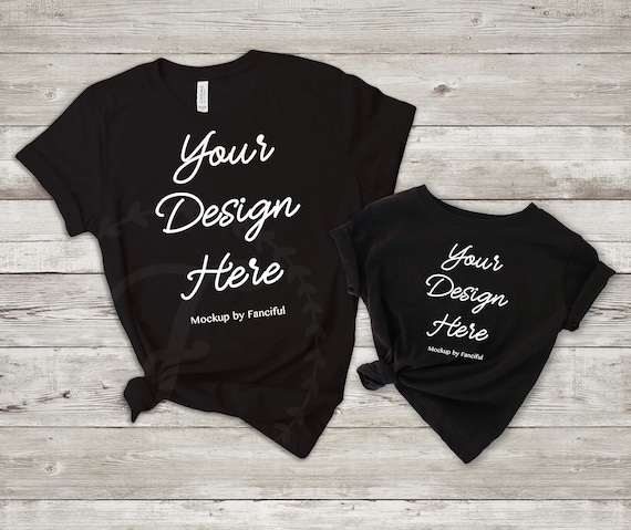 a37dabf097977 Mom and me Flat Lay Shirt Black Shirt Mockup Bella Canvas 3001 Outfit Scene  Flatlay TShirt Product Photography Shirt Designs