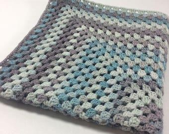 SALE! Variation of Blues Mini Throw Blanket Afghan