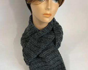 Charcoal Black Scarf with Accents of Gray