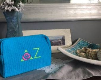 Delta Zeta waffle weave Cosmetic case, Officially licensed, Great Sorority Gift