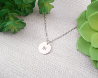 Custom Initial Necklace - Small Custom Hand Stamped Initial Alkeme Disc Necklace