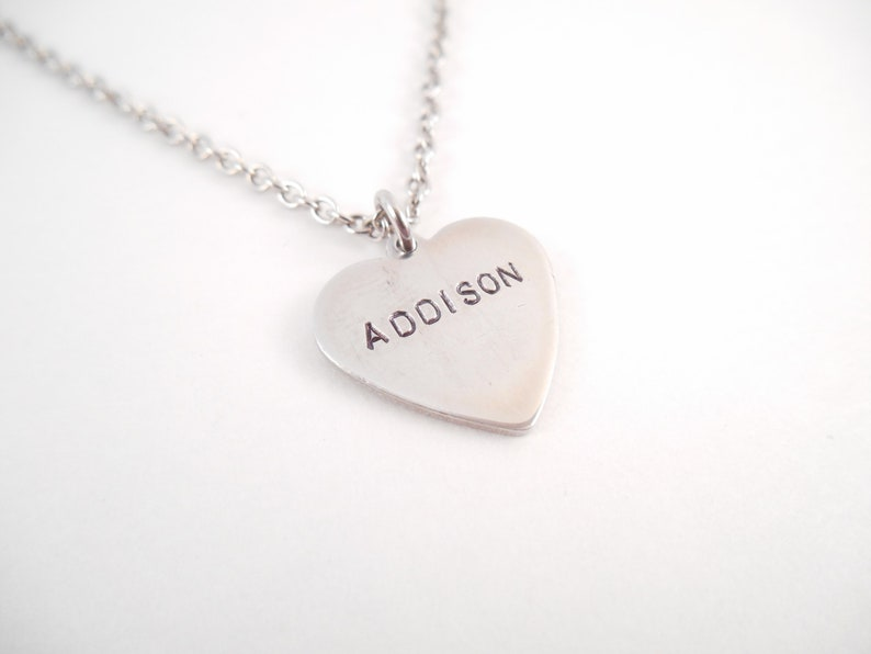 Custom Name Hand Stamped Heart Necklace Custom Heart Necklace