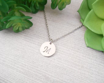 Custom Letter Necklace - Small Fancy Custom Hand Stamped Initial Disc Necklace