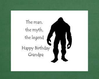 Happy Birthday Grandpa Card Grandfather Funny Humorous Cards Bigfoot